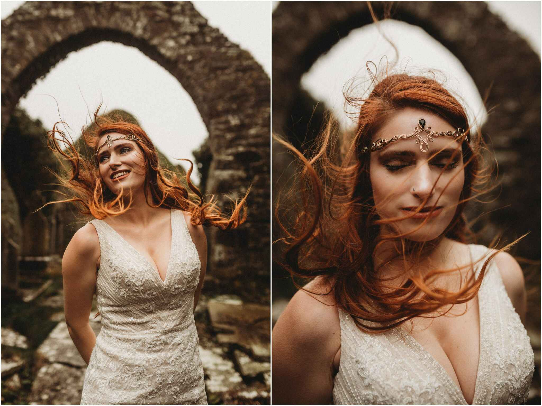 Brides hair dancing in the wind, under arch way Liscannor - Loughloon near the cliff of moher. This elopement was timeless and I will cherish having documented such a beautiful connection. These intimate elopement photos embrace the weather of Ireland and show the spirit of elopements.