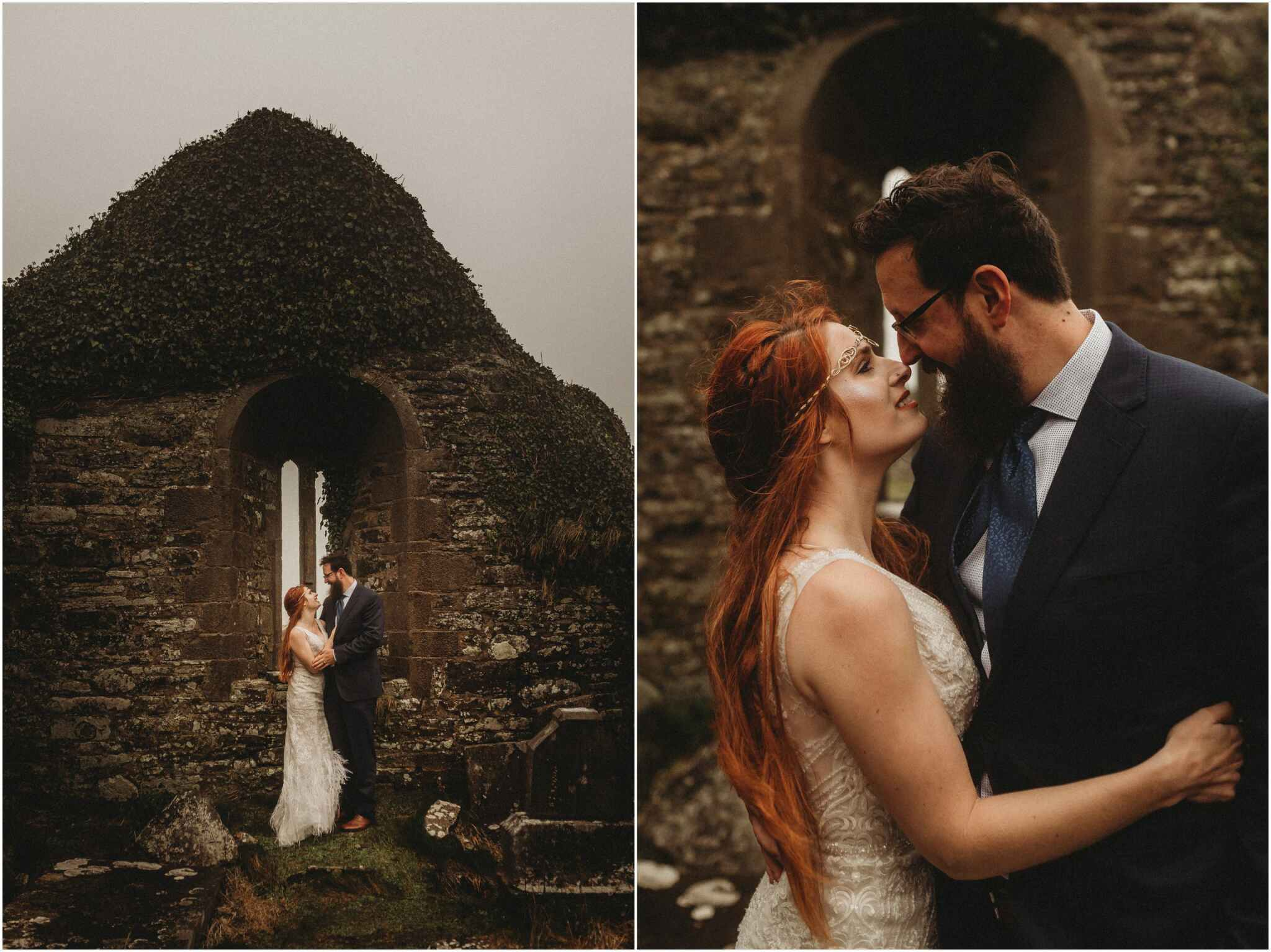 Red hair bride with beard groom at the cliffs of Moher Elopement